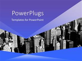 PowerPlugs: PowerPoint template with black and white view of New York City framed by blue and purple background