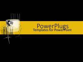 PowerPoint template displaying black and yellow film collage with camera lights showing