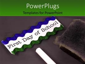 PowerPlugs: PowerPoint template with blackboard with chalk and eraser depicting educational and back to school concept with green color