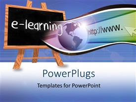 PowerPlugs: PowerPoint template with blackboard on easel with e-learning and internet depiction