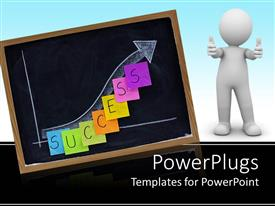 PowerPlugs: PowerPoint template with blackboard with graph drawn next to man with thumbs up sign