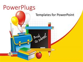 PowerPoint template displaying a blackboard with pencils, balloons and books