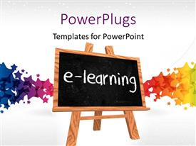 PowerPlugs: PowerPoint template with a blackboard saying e- learning with colorful background