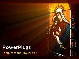 PowerPoint template displaying a blackish background with a picture of Jesus and Mary