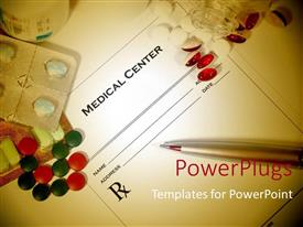 PowerPlugs: PowerPoint template with blank medical prescription with a different variety of colored pills surrounding it