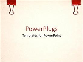 PowerPoint template displaying blank paper with two red binder clips clipped to top