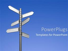 PowerPoint template displaying blank signpost pointing in different directions decisions choices blue skies