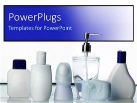 PowerPoint template displaying blank white bottles with white and blue caps on reflective surface