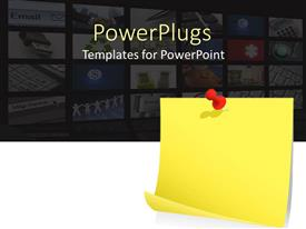 PowerPlugs: PowerPoint template with blank yellow sticky note with red pin with twelve depictions related to IT, internet and computers fading in the background