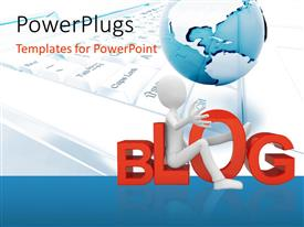 PowerPlugs: PowerPoint template with a blog with a globe in the background and place for text