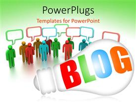 PowerPlugs: PowerPoint template with blog light bulb with colorful 3D people on white background