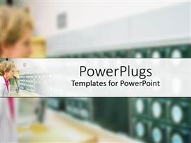 PowerPlugs: PowerPoint template with blond female doctor in white examining closely some x-rays