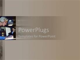 PowerPlugs: PowerPoint template with a blond lady writing on a brown colored background