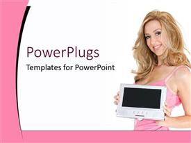 PowerPlugs: PowerPoint template with blond smiling woman in pink tank top holding screen, advertising, beauty, e commerce