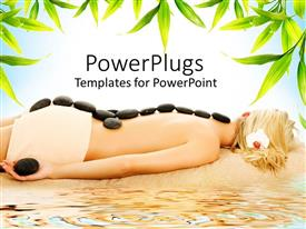 PowerPlugs: PowerPoint template with blond woman receiving hot stone spa treatment on beach with green leaves