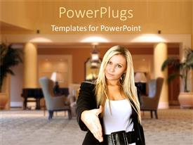 PowerPoint template displaying blond young business woman smiles and stretches hand for handshake