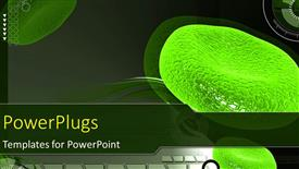 PowerPoint template displaying a magnified view of green colored red blood cells