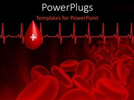 PowerPoint template displaying blood platelets with heart beat pulse on black background