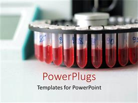 PowerPlugs: PowerPoint template with blood test vials test tubes with red blood in lab