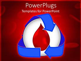 PowerPoint template displaying blood transfusion with blood circulation icon in red background