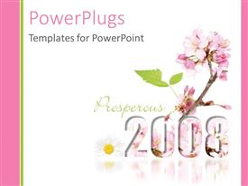 PowerPoint template displaying blooming New Year 2008 with pink colored flowers and white color