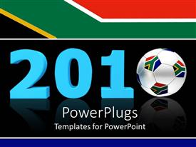 PowerPoint template displaying blue 2010 with soccer ball bearing South African flag