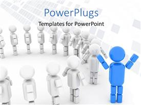 PowerPlugs: PowerPoint template with blue 3D man stands distinct from crowd forming circle