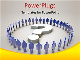 PowerPlugs: PowerPoint template with blue 3D people form circle round 3D question mark symbol