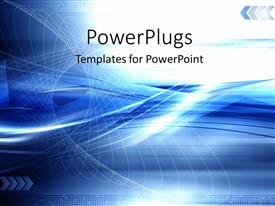 PowerPoint template displaying blue abstract technology modern background with network