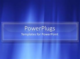 PowerPoint template displaying blue abstract underwater light rays white text modern simple