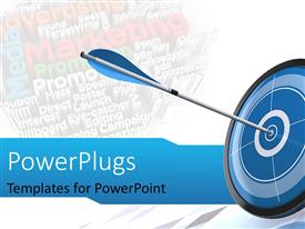 PowerPlugs: PowerPoint template with blue arrow and target at bottom right corner of white template