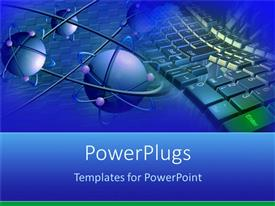PowerPlugs: PowerPoint template with blue atoms with purple electrons and a keyboard in the background