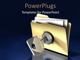 PowerPlugs: PowerPoint template with blue background with chrome key unlocking document folder