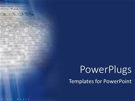 PowerPlugs: PowerPoint template with blue background with close up of newspaper print media text