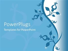 PowerPoint template displaying blue background with flower design