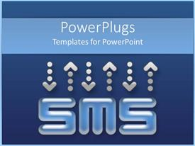 PowerPlugs: PowerPoint template with blue background with Short Messaging Service acronym and dotted arrows
