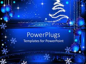 PowerPlugs: PowerPoint template with blue background with snowflakes and Christmas decorations
