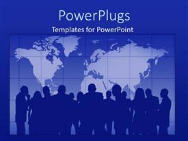 PowerPoint template displaying blue background with world map and silhouette of people in background
