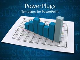 PowerPlugs: PowerPoint template with a blue bar chart on a white graph paper