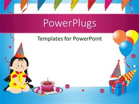 PowerPoint template displaying blue birthday frame with balloons, gift box and birthday cake