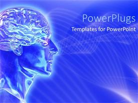 PowerPlugs: PowerPoint template with blue brain activity cranium and head face of person