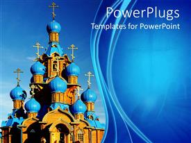 PowerPlugs: PowerPoint template with blue and brown catholic church on a blue background