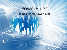 PowerPlugs: PowerPoint template with blue business working women and men directions compass world graphics blue