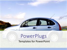 PowerPoint template displaying blue car larked on field with trees in background, blue sky