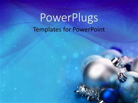 PowerPlugs: PowerPoint template with a close up view of shinny blue and silver ornaments