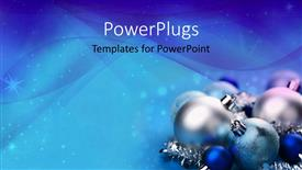 PowerPoint template displaying a close up view of shinny blue and silver ornaments