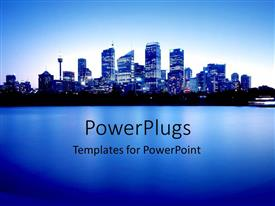 PowerPoint template displaying blue city lights at night with ocean bay and blue sky