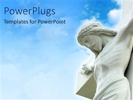 PowerPoint template displaying blue cloudy sky with carving of Christ on cross