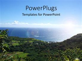 PowerPlugs: PowerPoint template with blue cloudy sky with scenery of Hana Highway in Maui