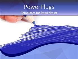 PowerPoint template displaying a blue color pencil shading the paper